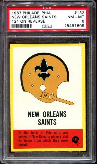 1967 Philadelphia #132 - Saints Logo - PSA 8