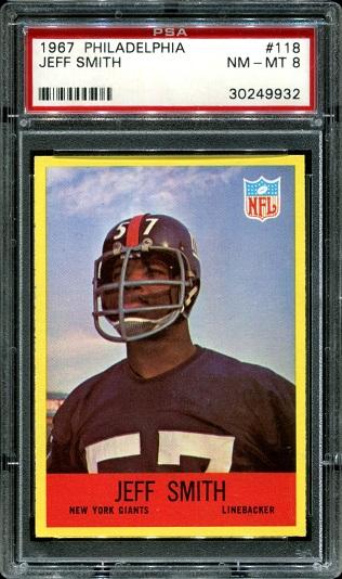 1967 Philadelphia #118 - Jeff Smith - PSA 8