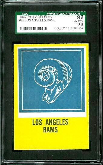 1967 Philadelphia #96 - Rams Logo - SGC 92