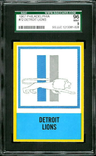 1967 Philadelphia #72 - Lions Logo - SGC 96