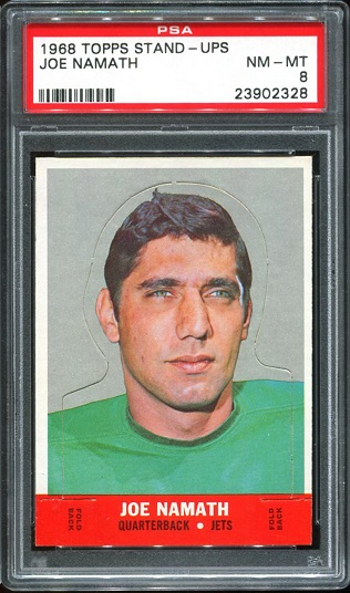 1968 Topps Stand Up #17 - Joe Namath - PSA 8