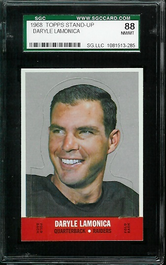 1968 Topps Stand Up #13 - Daryle Lamonica - SGC 88