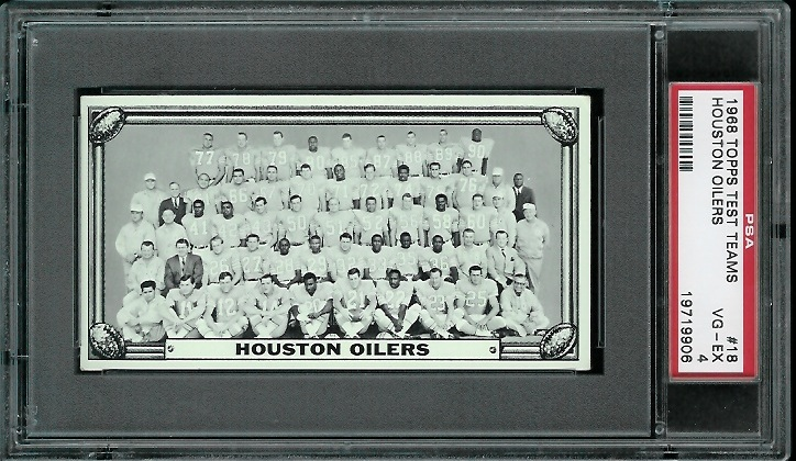 1968 Topps Test Team Photos #18 - Houston Oilers Team - PSA 4