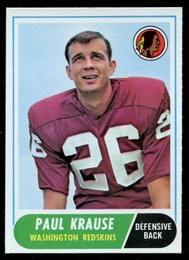 1968 Topps #166 - Paul Krause - nm