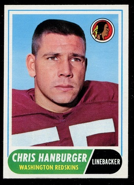 1968 Topps #62 - Chris Hanburger - exmt
