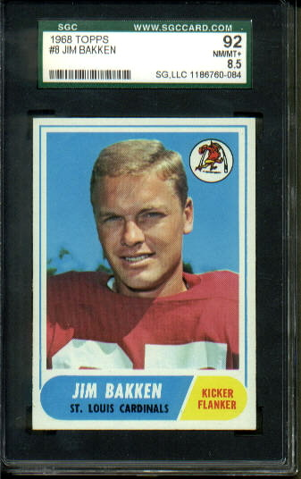 1968 Topps #8 - Jim Bakken - SGC 92