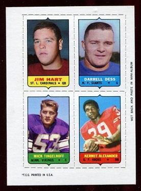1969 Topps 4-in-1 #19 - Jim Hart, Darrell Dess, Mick Tingelhoff, Kermit Alexander - nm