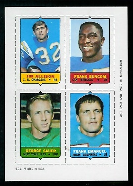 1969 Topps 4-in-1 #2 - Jim Allison, Frank Buncom, George Sauer, Frank Emanuel - nm+