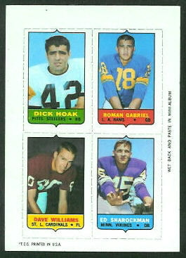 1969 Topps 4-in-1 #23 - Dick Hoak, Roman Gabriel, Dave Williams, Ed Sharockman - nm