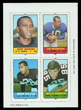1969 Topps 4-in-1 #25 - Gene Howard, Joe Morrison, Ben Davis, Billy Martin - nm