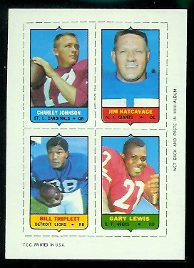 1969 Topps 4-in-1 #27A - Charley Johnson, Jim Katcavage, Bill Triplett, Gary Lewis - nm-mt
