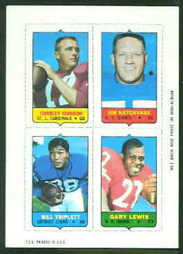 1969 Topps 4-in-1 #27B - Charley Johnson, Jim Katcavage, Bill Triplett, Gary Lewis - nm+