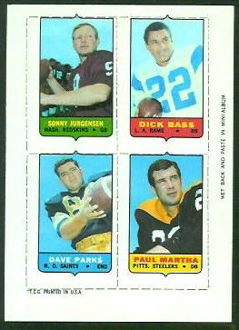 1969 Topps 4-in-1 #29 - Sonny Jurgensen, Dick Bass, Dave Parks, Paul Martha - exmt