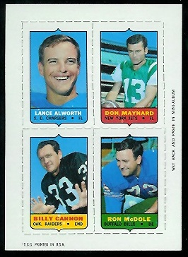 1969 Topps 4-in-1 #3 - Lance Alworth, Don Maynard, Billy Cannon, Ron McDole - nm