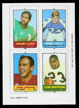 1969 Topps 4-in-1 #33 - Israel Lang, Bob Lilly, John Brodie, Jim Butler - nm+ oc