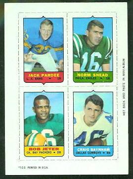 1969 Topps 4-in-1 #43 - Jack Pardee, Norm Snead, Bob Jeter, Craig Baynham - nm
