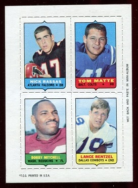 1969 Topps 4-in-1 #45 - Nick Rassas, Tom Matte, Bobby Mitchell, Lance Rentzel - nm