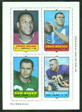 1969 Topps 4-in-1 #47 - Johnny Roland, Craig Morton, Sam Baker, Bill Brown - nm+