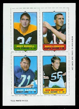 1969 Topps 4-in-1 #48 - Andy Russell, Randy Johnson, Alex Karras, Bob Matheson - ex+