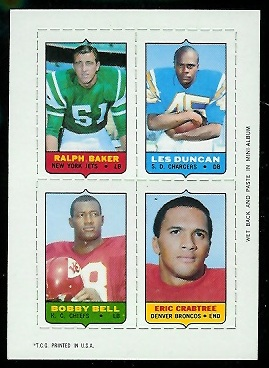 1969 Topps 4-in-1 #5 - Ralph Baker, Les Duncan, Bobby Bell, Eric Crabtree - nm