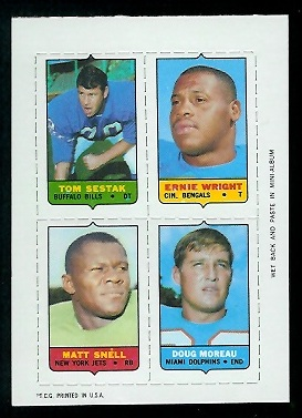 1969 Topps 4-in-1 #50 - Tom Sestak, Ernie Wright, Matt Snell, Doug Moreau - exmt