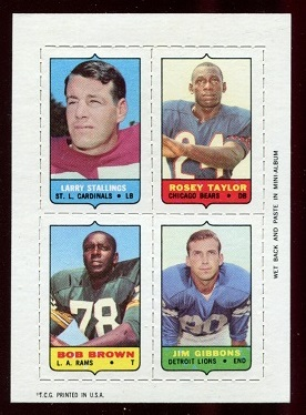 1969 Topps 4-in-1 #53 - Larry Stallings, Roosevelt Taylor, Bob Brown, Jim Gibbons - exmt