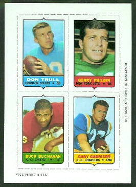 1969 Topps 4-in-1 #58 - Don Trull, Gerry Philbin, Buck Buchanan, Gary Garrison - nm