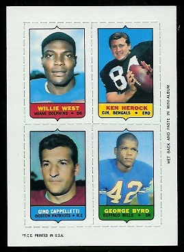 1969 Topps 4-in-1 #61 - Willie West, Ken Herock, Gino Cappelletti, George Byrd - nm+