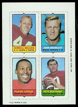 1969 Topps 4-in-1 #62 - Jerrel Wilson, John Bramlett, Floyd Little, Pete Beathard - nm