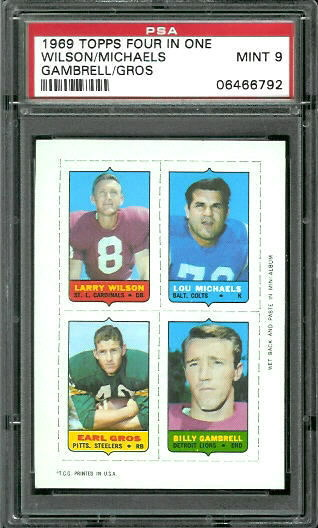 1969 Topps 4-in-1 #63 - Larry Wilson, Lou Michaels, Earl Gros, Billy Gambrell - PSA 9