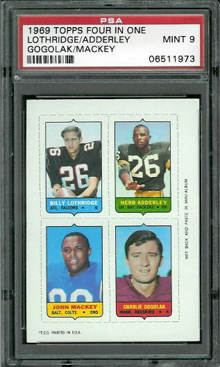1969 Topps 4-in-1 #35 - Billy Lothridge, Herb Adderley, John Mackey, Charlie Gogolak - PSA 9