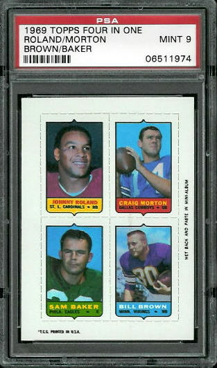 1969 Topps 4-in-1 #47 - Johnny Roland, Craig Morton, Sam Baker, Bill Brown - PSA 9