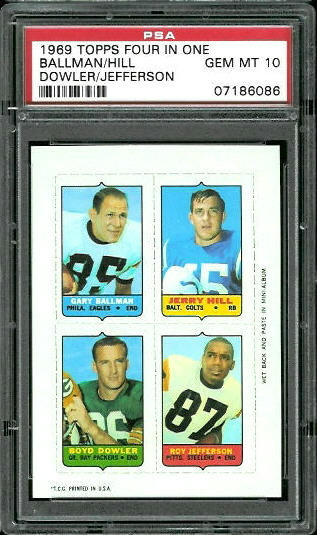 1969 Topps 4-in-1 #6 - Gary Ballman, Jerry Hill, Boyd Dowler, Roy Jefferson - PSA 10