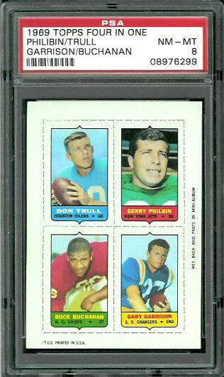 1969 Topps 4-in-1 #58 - Don Trull, Gerry Philbin, Buck Buchanan, Gary Garrison - PSA 8