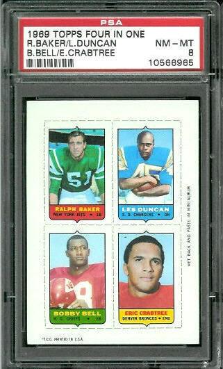 1969 Topps 4-in-1 #5 - Ralph Baker, Les Duncan, Bobby Bell, Eric Crabtree - PSA 8