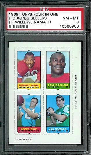 1969 Topps 4-in-1 #15 - Hewritt Dixon, Goldie Sellers, Howard Twilley, Joe Namath - PSA 8