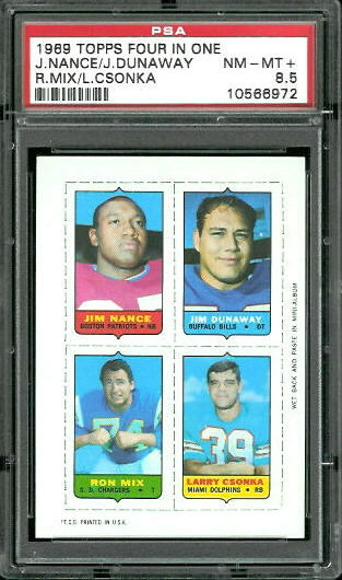 1969 Topps 4-in-1 #40 - Jim Nance, Jim Dunaway, Ron Mix, Larry Csonka - PSA 8.5
