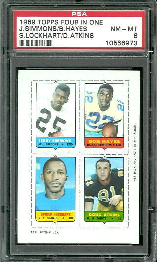 1969 Topps 4-in-1 #51 - Jerry Simmons, Bob Hayes, Spider Lockhart, Doug Atkins - PSA 8