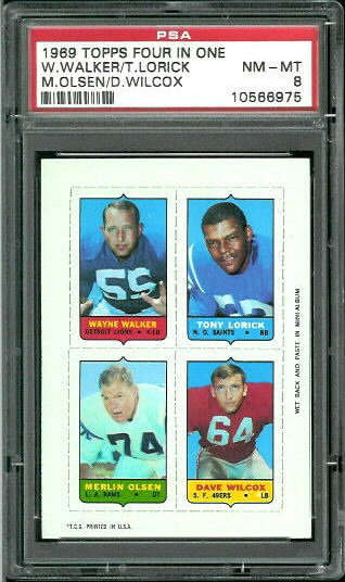 1969 Topps 4-in-1 #60 - Wayne Walker, Tony Lorick, Merlin Olsen, Dave Wilcox - PSA 8