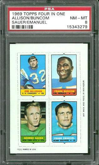 1969 Topps 4-in-1 #2 - Jim Allison, Frank Buncom, George Sauer, Frank Emanuel - PSA 8