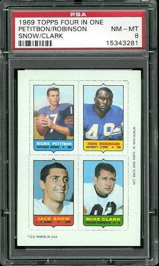 1969 Topps 4-in-1 #44 - Richie Petitbon, John Robinson, Jack Snow, Mike Clark - PSA 8