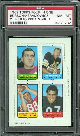 1969 Topps 4-in-1 #12 - Jim Burson, Dan Abramowicz, Dick Witcher, Ed O'Bradovich - PSA 8