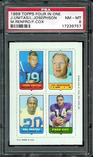 1969 Topps 4-in-1 #59 - John Unitas, Les Josephson, Mel Renfro, Fred Cox - PSA 8