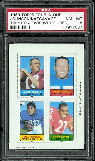 1969 Topps 4-in-1 #27A - Charley Johnson, Jim Katcavage, Bill Triplett, Gary Lewis - PSA 8