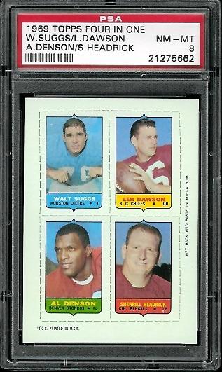 1969 Topps 4-in-1 #55 - Walt Suggs, Len Dawson, Al Denson, Sherrill Headrick - PSA 8