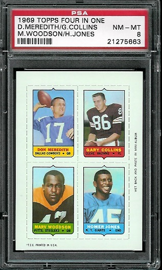 1969 Topps 4-in-1 #37 - Don Meredith, Gary Collins, Marv Woodson, Homer Jones - PSA 8