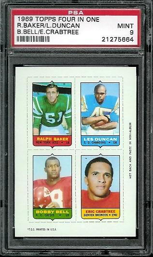 1969 Topps 4-in-1 #5 - Ralph Baker, Les Duncan, Bobby Bell, Eric Crabtree - PSA 9