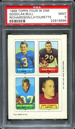 1969 Topps 4-in-1 #17 - Pete Gogolak, Ron Bull, Willie Richardson, Chuck LaTourette - PSA 9