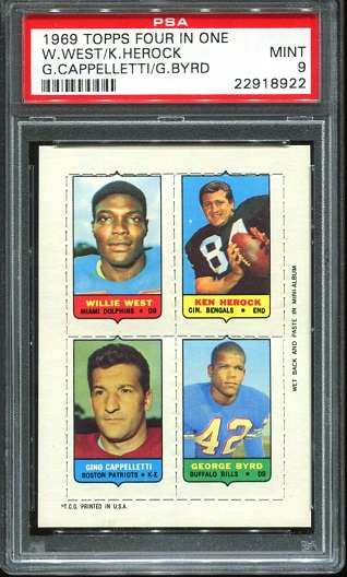 1969 Topps 4-in-1 #61 - Willie West, Ken Herock, Gino Cappelletti, George Byrd - PSA 9