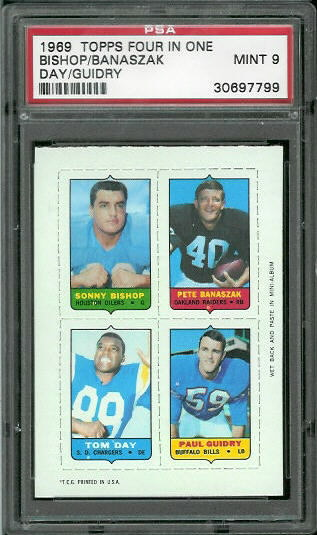 1969 Topps 4-in-1 #8 - Sonny Bishop, Pete Banaszak, Tom Day, Paul Guidry - PSA 9